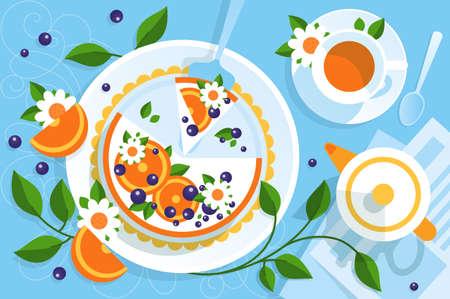 Serving table for tea with pie. Orange cake for dessert. Vector illustration