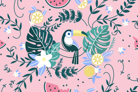 Seamless colored pattern with green leaf palm and parrot. Vector illustration