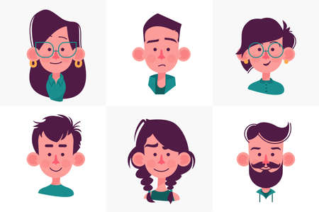 Peoples faces cartoon collection Stock Photo