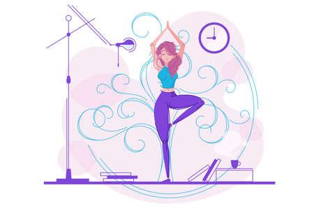 Cute girl practicing yoga. Balance and meditation line style. Vector illustration