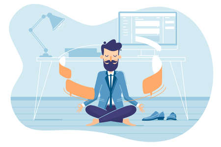 Businessman in working balance of zen. Meditation and concentration. Vector illustration