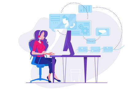 Girl telephone consultant in workplace. Online consultation. Vector illustration
