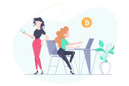 Financial transfer of crypto currency. Payment by bitcoin, vector illustration Illustration