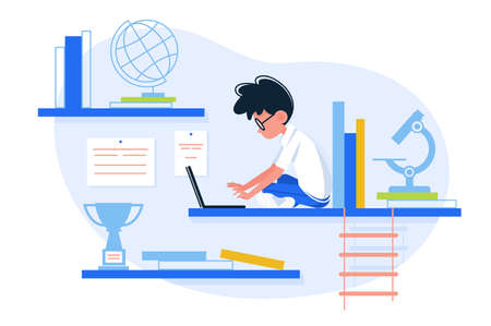 Boy loves to learn. Guy study to sit with laptop. Vector illustration