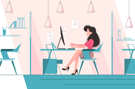 Girl working in office. Assistant leader or secretary. Vector illustration