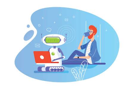 Robot trabaja en una computadora portátil. Hombre tomando café. Ilustración vectorial plana