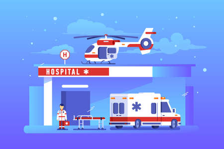 Building of hospital with ambulance car and helicopter. Vector illustration