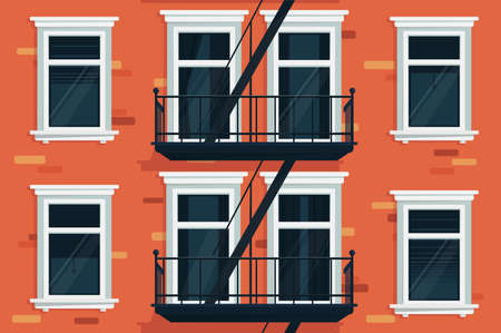 Brick wall of house with windows and stairs. Vector illustration