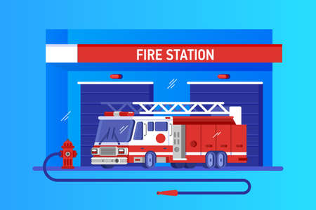 Fire station with fire engine. Rapid response service, vector illustration flat Illustration