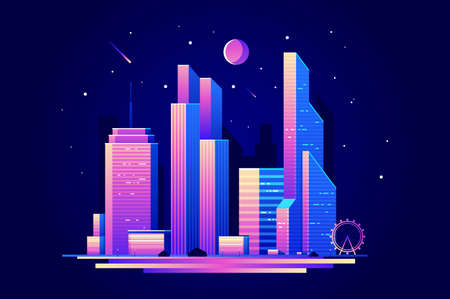 Landscape of night city with skyscrapers buildings. Vector illustration flat