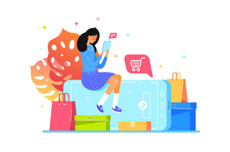 Girl buys online with smartphone, web shopping Stock Photo