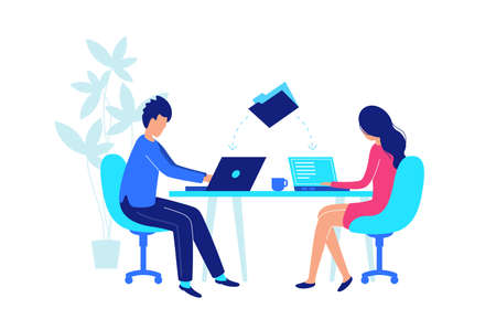 Colleagues work at workplace with laptop. Share data in folder. Vector illustration