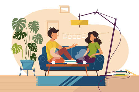 Couple of guy and girl sitting on couch at home and speaking. Vector illustration