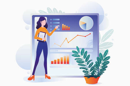 Girl presents project, charts and graphs. Business presentation, vector illustration