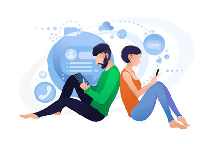 Live chat with smartphone, online communication people Illustration