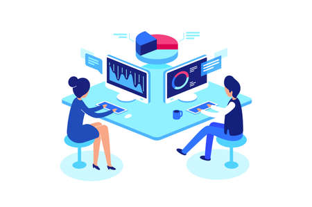 Colleagues working in workplace. Working with data, isometric style, vector illustration