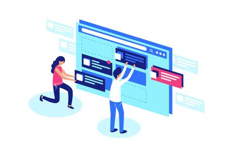 Web designers team create website page design. Vector flat illustration