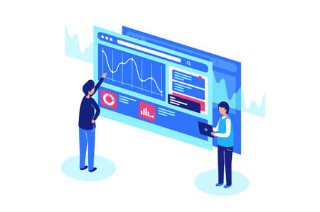 Work with graphs and diagrams. Analyze statistics on the screen. Vector illustration Stock Photo