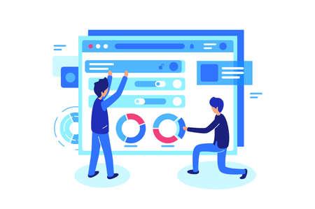 Online teamwork in group. Men build website and work together. Vector illustration.