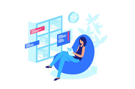 Reading online book, abandonment of paper books. Woman reading e-book. Paper book on shelf, new generation. Vector illustration.
