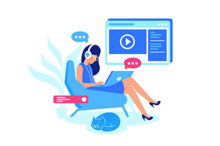 Online courses, e-learning, listening lesson. Woman watch video and chat with teacher. Vector illustration.