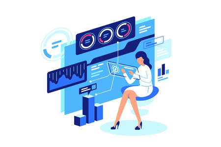 Work with data, data managment. Woman manages information, keeps track of diagram with online technologies. Vector illustration.