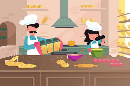 Bakery producing bread, rolls, bagels, pretzels. Man and woman prepare products before opening a store. Vector illustration.