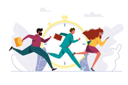 People rushing to work, running person. Businessman and businesswoman running against background of old clock. Vector illustration. Illustration