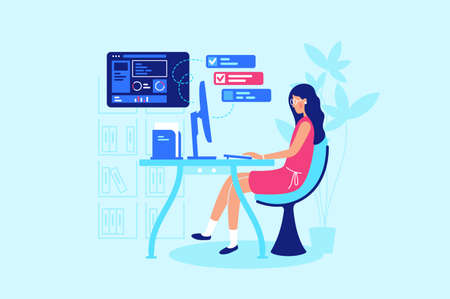 Businesswoman is working hard at her workplace. Concept modern office, woman work with computer, online, folder, diagram. Vector illustration.