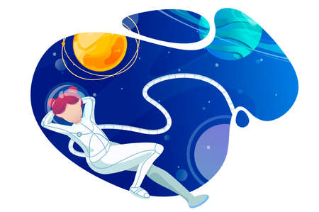 Woman astronaut relaxes in space. Concept flight of fantasy surreal univers with young girl explorer. Vector illustration.
