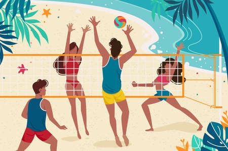 Young people are resting on seashore. Concept women and men playing volleyball on the beach. Vector illustration.