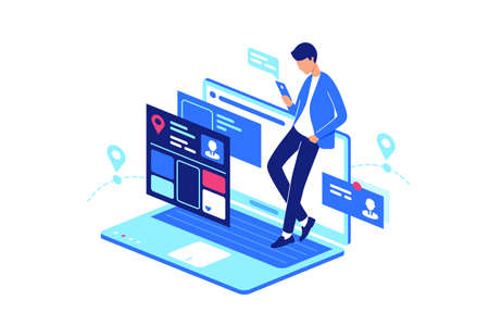 Online, web, internet service everyday life with laptop and smartphone, mobile phone. Concept young man with device in online social, forum, chat. Vector illustration. Illustration