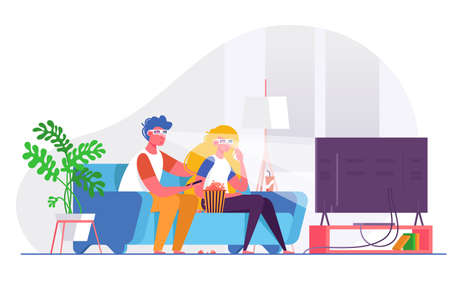 Couple watching 3d movie on big TV. Concept man and woman in relationship, family life. Vector illustration. Illustration