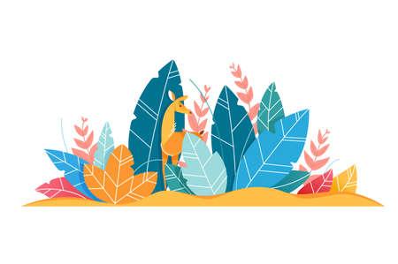Walking deer among leaves. Concept animal among leaf, wild nature. Vector illustration. Illustration