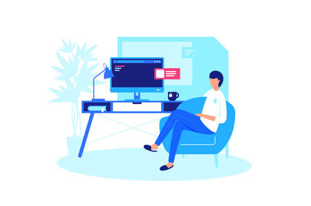 Man relaxes at home computer. Concept person rest on the armchair online. Vector illustration.