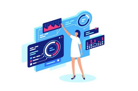 La empresaria hace personalmente el ajuste de sitio, diagramas, información, negocios. La mujer gestiona la información, realiza un seguimiento del diagrama con tecnologías en línea. Ilustración vectorial.