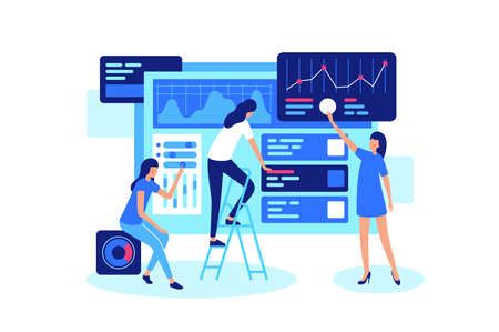 Online teamwork on marketing in internet in group. Concept team girl, businesswoman is working on business, site, forum, trade. Vector illustration.