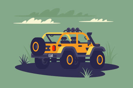 SUV in the wild. Concept vehicle off-road, modern car in green jungle. Vector illustration.