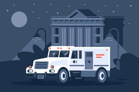 Collector s car next to the bank under cover of night. Concept vehicle, civil service, delivery. Vector illustration.