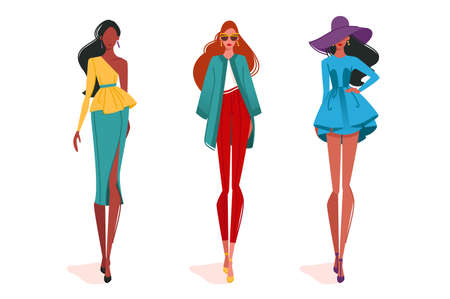 Fashionable girls in motion, on fashion show. Concept isolated, woman in modern clothes. Vector illustration.