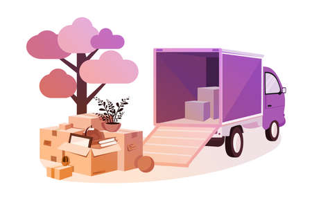 Transportation of things during move. Concept relocation with truck, personal effects. Vector illustration.