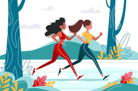 Running young girls in the forest with headphones. Concept sport woman in wild nature on training. Vector illustration. Illustration