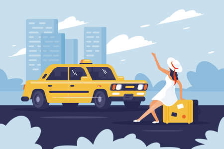 Person catching taxi on the road next to the city. Concept young girl with baggage in trip. Vector illustration.