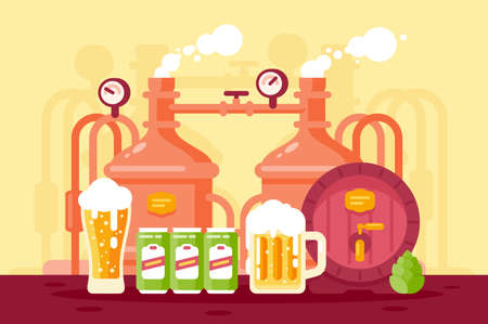 Beer with foam and working brewery. Concept wooden barrel with drink, alcohol production equipment. Vector illustration.