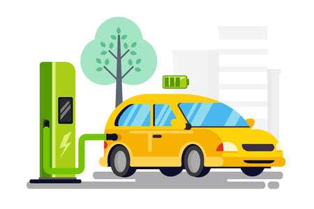 Nuevo repostaje para coche eléctrico. Concepto de conservación de la naturaleza, combustible de próxima generación. Ilustración de vector.
