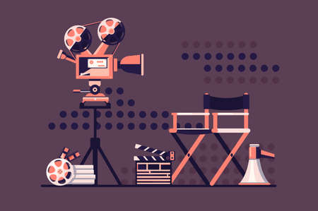 Film set cinema with equipment. Stock Photo