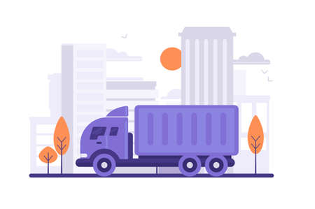 Truck is carrying things on city background. Concept vehicle, civil service, delivery. Vector illustration.
