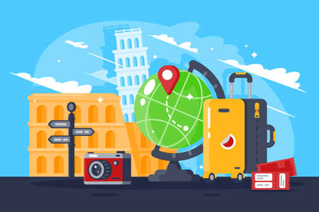 Great trip around the world. Concept travel with personal items, tower of pisa, amphitheater. Vector illustration.