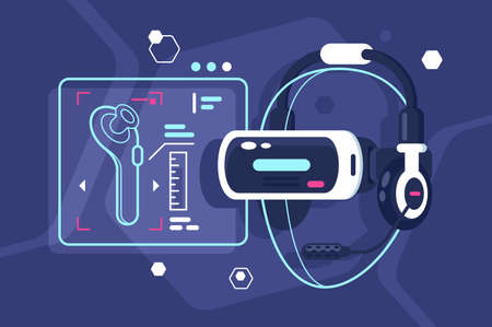 Virtual reality helmet with controller, headphones and microphone. Concept future, modern technology. Vector illustration. Stock Photo