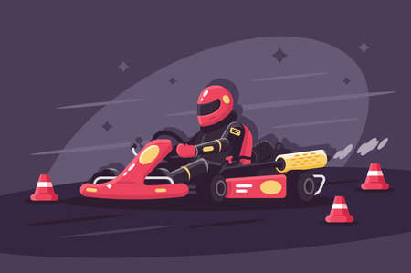 Person in protective suit on race car rides on karting. Illustration